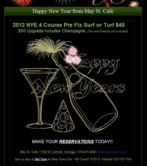 New Years at May Street Cafe